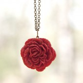 Crimson Ruby Red Peony Flower Necklace