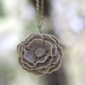 Large Grey Peony Flower Necklace
