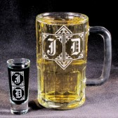 Best Man Gift, Monogrammed Beer Mug Shot Glass Set