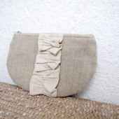 pleated linen clutch