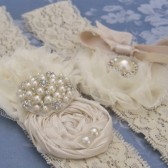 Vintage Ivory Wedding Garter Set
