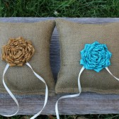 Set of Two Burlap Ring Bearer Pillows - You choose the color flowers- Rustic Weeding - Woodland Wedding -