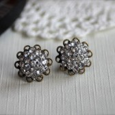Vintage Style Rhinestone Antiqued Bronze Filigree Post Earrings