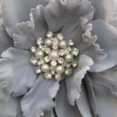 Grey Wedding Flower Clip