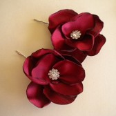 Cranberry bridal hair pins, shoe clips handmade wedding satin flowers rhinestone Marsala Pantone Color 2015