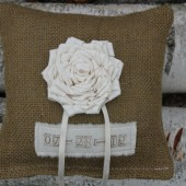 Personalized Burlap Ring Bearer Pillow