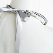Samantha - Perfect Bridesmaid Necklace-White, Silver & Pewter, Triple Strand Pearl Necklace