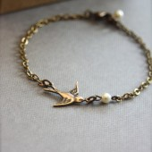 Tiny Oxidized Brass Flying Swallow Bird with Swarovski Ivory Pearl Bracelet. Bridesmaid Bracelets
