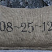 Wedding Date Pillow- Personalized Pillow - Burlap Pillow