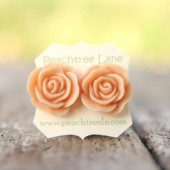 Large Peach Rose Earrings