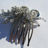 Hair Comb Vintage with Radiant Pave Rhinestones set in Silver Plated Ribbons