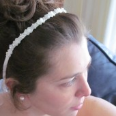 Headband Ivory Ribbon Accented with Pave Rhinestones set in Silver