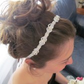 Hair Accessory White Ribbon Accented with Flowers & Pave Rhinestones set in Silver