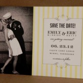 Photo Yellow Stripe Vintage Save the Date Postcard / Printed Invitation / Southern Style Darby Cards Post Card