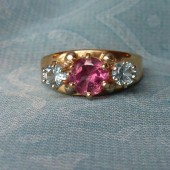 Pink and Blue Maine Tourmaline Ladies White Gold Ring