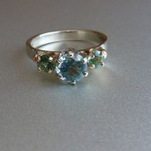 Classic Romantic Blue and Green Tourmaline Gold Ring