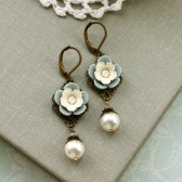 A Vintage Style Soft Dusty Grey Blue, Cream Pansy Flower, Ivory Peal Drop Earrings