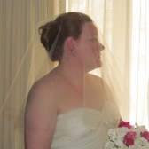 Drop Wedding Veil 42 Inches with Swarovski Crystal Rhinestone
