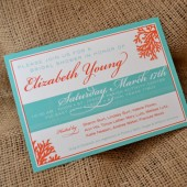 Coral & Turquoise Bridal Shower Invite
