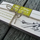 Wedding Save The Date- Vintage and Airplane inspired invitations