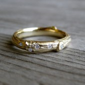 Scattered Diamond Twig Band: Recycled Gold, 3mm Wide Branch