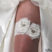 Bridal garter with shabby chic chiffon flower and rhinestone buttons
