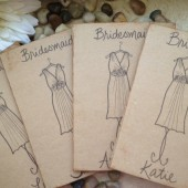 Thank you for being my bridesmaid greeting card personalized with their name and dress replicated