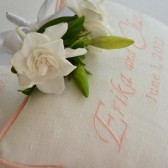 Wedding Ring Bearer Linen Pillow, Custom Embroidered Monogram