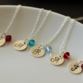Monogrammed Sterling Silver Birthstone Necklaces
