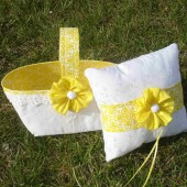 Yellow and White Basket and Pillow Set