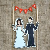 Illustrated Cake Topper with Banner