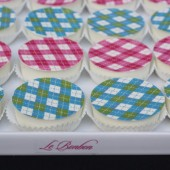 Pink and Blue Argyle Chocolate Covered Oreos