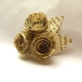 Book Page Rose Bud Boutonniere
