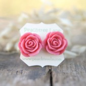 Large Dusty Pink Rose Earrings