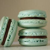 Mint Seafoam Green Vanilla and Milk Chocolate Ganache Shimmer French Macaron