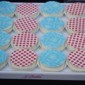 Pink Dot and Blue Lace Chocolate Covered Oreos