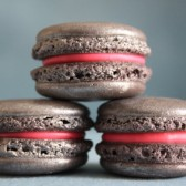 Metallic Silver Shimmer French Macaron with White Chocolate Strawberry Neon Ganache