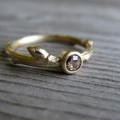 Rose Cut Chocolate Diamond Twig Ring in Recycled Gold