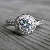Moissanite Engagement Twig Halo Ring in White Gold
