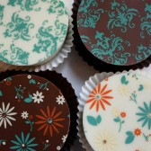 Teal Green Damask and Retro Flower Chocolate Covered Oreos