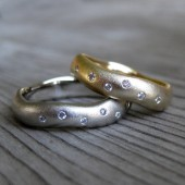 Wedding Band Commitment Rings in Gold, Set of Two