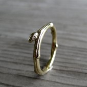 Twig Wedding Band with Single Bud in White, Yellow, or Rose Gold, 2-3mm wide