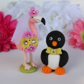 Flamingo and Penguin cake topper,custom cake topper, wedding cake topper, cute cake topper, bride groom figurines, personalized wedding, hand made cake topper, animal cake topper, wedding keepsake, love bird cake topper, love birds
