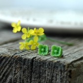 Apple Green Flower Post Earrings