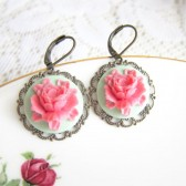 Mint Green Pink Floral Dangling Earrings