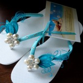 Turquoise Flip Flops. Turquoise - Aqua-Teal Peacock Feathers Flip Flops with Swarovski Crystals-Tiffany-MUST Have Collection
