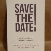 Modern Clean Simple Big Letters Save the Date / Rehearsal Dinner / Wedding / Birthday / Party / Custom Printed Darby Cards Invitation