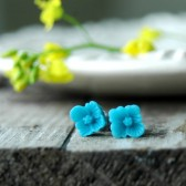 Aqua Flower Post Earrings