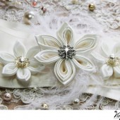 Kanzashi Flower Wedding Sash - Custom Color