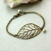 Antiqued Brass Bronze Leaf, Ivory Pearls Bracelet. Filigree Leaf Bracelet. Nature Inspired Bracelet